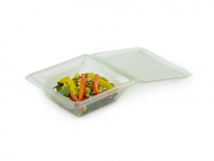 Hinged Salad Pack with Fork Cavity
